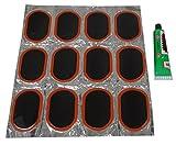 Aerzetix: Lot von 12 Patches Flicken für Fahrradreifen 61mm + Kleber Fahrrad Reifen Flickzeug