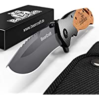 BearCraft Cuchillo Plegable en Carbon Design | Cuchillo de Bolsillo de Supervivencia al aire libre | Cuchillo de rescate de una mano con rompevirutas y cortador de cinturón