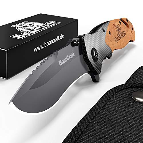 BearCraft Klappmesser in Carbon Design | Outdoor Survival Taschenmesser | Einhand-Rettungsmesser mit...