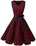 bridesmay Damen Vintage 1950er Rockabilly Ärmellos Retro Cocktailkleid Partykleid Black Red Dot XL