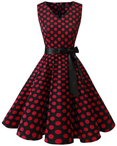 usschnitt Kleid Vintage Cocktailkleid Rockabilly Retro Schwingen Kleid FaltenrockBlack Red Dot XL ()