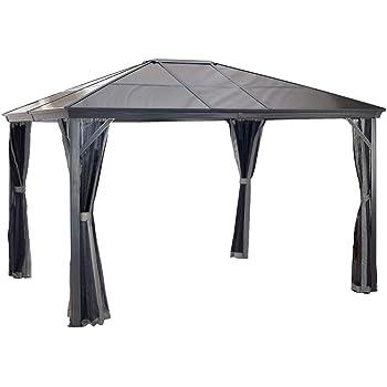 Aluminium Pavillon Überdachung Gazebo Verona 10x14 mit Doppelstegplatten // 298x423 cm (BxT) // Gartenlaube mit Doppelstegdach von Sojag