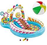 Bavaria-Home-Style-Collection Aufblasbares Playcenter Spielcenter Wasserspielzeug Kinder-Spiel-Pool mit Wasserrutsche und Wasser Sprüher XL ab 3 Jahren Spielzeug für Garten Outdoor