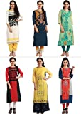 #9: 1 Stop Fashion Women's Multi-Coloured Crepe Knee Long W Style Kurtas Combo (Set Of 6)
