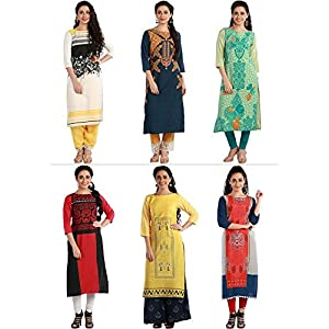1 Stop Fashion Women's Multi-Coloured Crepe Knee Long W Style Kurtas Combo (Set of 6)