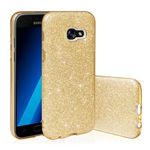 EGO ® Hülle Glitzer Schutzhülle für Samsung Galaxy A3 2017 A320, Gold Back Case Bumper Glänzend Transparente TPU Bling Weiche Glamour Handy Cover Lipgloss Gold