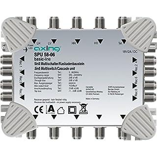 Axing SPU 58-06 Multischalter 5 in 8 Receiver-gespeist Multiswitch-Kaskade erweiterbar SAT aktiv hellgrau