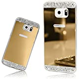 Xtra-Funky Range Samsung Galaxy S7 Edge Slim TPU Silicone Shiny Mirror Case with Sparkly Crystal Diamante Rhinestones - Gold