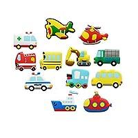 Koolemon 12pcs/lot Vehicles Car Fridge Magnets Whiteboard Sticker Rubber Refrigerator Magnets Home Decoration Educational Kids Gift