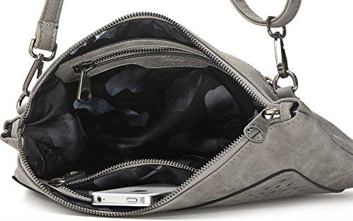 Borse MIYA BLOOM, borse da donna, borse da sera, sottobraccio, frizioni, borse a tracolla, borse crossover, 32,5 x 20,5 x 2 cm (L x A x P x P), colore: beige Grau