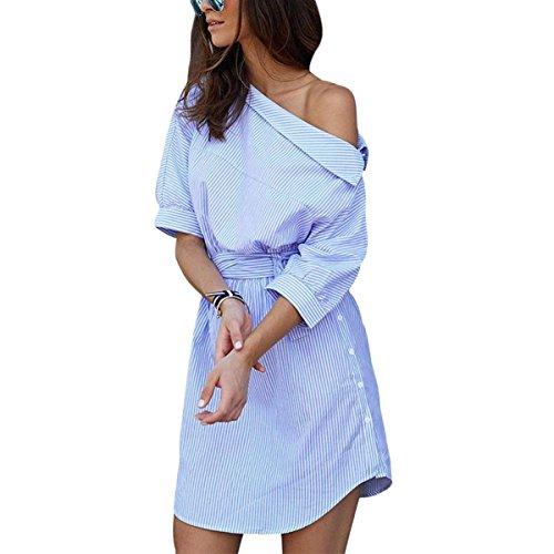 Frauen Oberteile Gestreiftes One Shoulder Asymmetrische Blusenkleid Blau Taille Ballkleid Elegant 3/4 Ärmel Kleid Langshirts Blau
