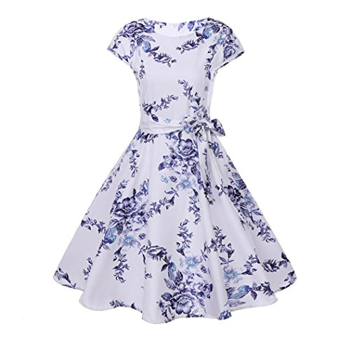 Women High-Waist Pleated Dress Sleeveless Floral Printed Prom, 1950's Retro Skirt Party Cocktail A-Line Dress with Belt,Retro Pleated Skirt for Girls Ladies (White-Blue, XXL/UK 16)