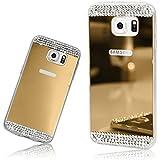 Xtra-Funky Série Samsung Galaxy S7 Edge mince TPU étui en silicone miroir brillant avec cristal diamantes scintillant de strass - Or