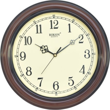 Rikon Quartz Plastic Round Shape 30 cm X 30 cm Fancy Premium Home Decor Wall Clock (Wood Ivory) For Home And Office