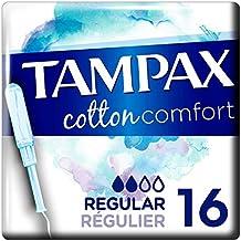 Tampax Cotton Comfort, Tampon 100 % Coton avec Applicateur en Plastique Végétal - Régulier x16
