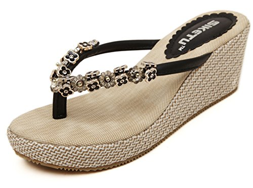 Flops Sandalen Sommer Pantoffeln Damen Schwarz Keil neuen Damen Flip neuen xYwWOqw7Xf