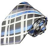 Paul Malone Krawatte blau graues Schottenmuster Seidenkrawatte überlange 165cm