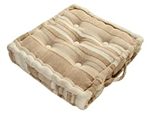 Homescapes - Morocco Striped - 100% Cotton - Floor Cushion - Beige - 40 x 40 x 8 cm Square - Indoor - Garden - Dining Chair Booster - Seat Pad Cushion