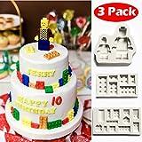 Stampo in silicone a forma di mattoncini Lego per decorazione torte e cupcake, stampi fai da te per pasta di zucchero, bianco