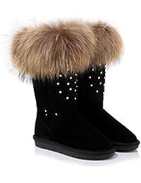 Best 4U® Zapatos de mujer de piel genuina de imitación de piel sintética Rhinestone tacones planos de goma de...