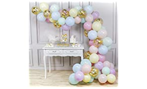 PartyWoo Pastel Balloons Pack, 80 pcs 12 Inch Pastel Colour Balloons Assorted and Gold Confetti Balloons, Gold Balloons Pastel 7 Colours for Pastel Wedding Decorations, Pastel Girl Birthday Decoration