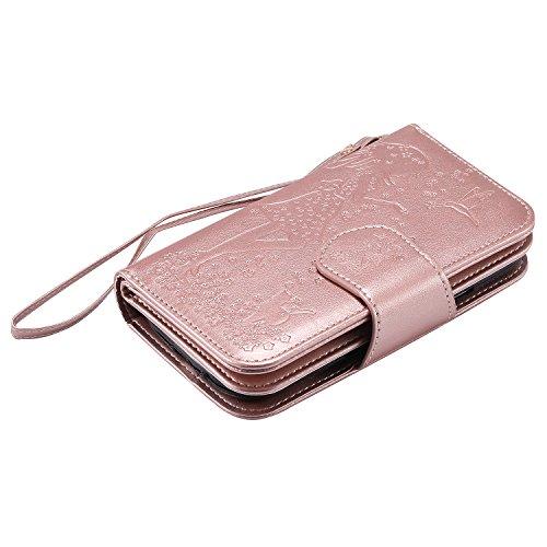 Leather Case Cover Custodia per Apple iPhone 6 plus/6s Plus 5.5 ,Ecoway Caso / copertura / telefono 3D Donna e gatto di disegno in rilievo dipinto di progettazione Folio PU a libro con 9 tasche di car Rose gold