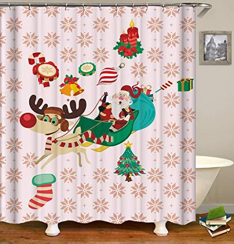 ajhgfjgdhkmdg Cartoon Christmas Snowflake Santa Sleigh und Big Tree auf rosa Hintergrund Wasserdicht, pflegeleicht, langlebig und verschleißfest -