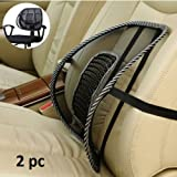 #10: NIKAVI Black Mesh Lumbar Back Brace Support Office Home Car Seat Chair Cushion Cool Back Rest (2)