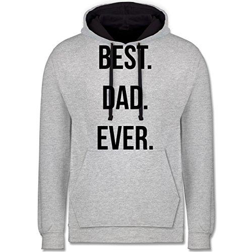Vatertag - Best Dad Ever - Kontrast Hoodie Grau meliert/Dunkelblau