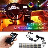 Lampade Interne a LED per Auto LETOUR, Striscia di Lampade Impermeabile per Atmosfera, 4 pezzi 72 LED 8 Colori con Sensore Audio e Telecomando, Caricabatterie per Auto Incluso, DC 12V