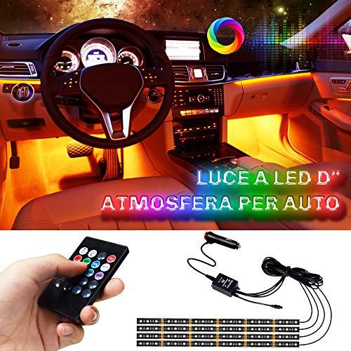 Lampade Interne a LED per Auto LETOUR, Striscia di Lampade Impermeabile per Atmosfera, 4 pezzi 72 LED 8 Colori con Sensore Audio e Telecomando APP, Caricabatterie per Auto Incluso, DC 12V