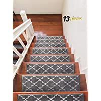 James Fashion Trellisville Collection Trellis Design Vibrant and Soft Stair Treads, Grey, Pack of 13