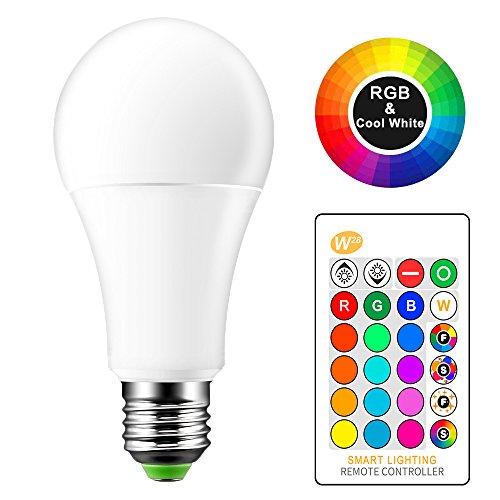 OurLeeme Cambio Color la Bombilla Regulable, E27 15W RGB 16 Colores Opciones, Control Remoto Blanco frío Bombilla de Bajo Consumo para la Decoración Hogar Bar Party KTV Stage (batería no incluida)