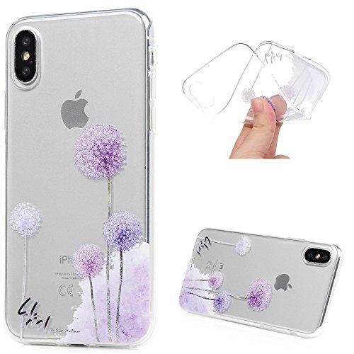 MAXFE.CO TPU Silikon Hülle für iPhone X Handyhülle Schale Etui Protective Case Cover Rück mit Blumen Skin TPU Kantenschutz Gemalt Design Schutzhülle Löwenzahn
