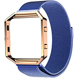 JACKY Milanese Magnetic Stainless Steel Watch Band + Metal Frame For Fitbit Blaze Blue
