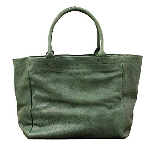MON PARTENAIRE M Vert délavé cabas en cuir sac à main style vintage PAUL MARIUS