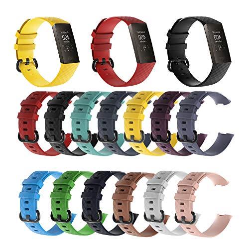 3-teiliges Set Silicone Armband | Handgelenk für Fitbit Charge 3 Smart Band | Dreiteilige Set | Ersatz | Haltbar Sport | Schön | Zubehör | Größe L S | Premium Silikon | Hohe Qualität | Komfortabel