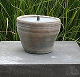 Outdoorkerze, Keramiktopf, Gartenkerze, Brenntopf, Feuertopf, Feuerschale, Brennschale, Durchmesser 15 cm, Brenndauer ca. 30 Std.