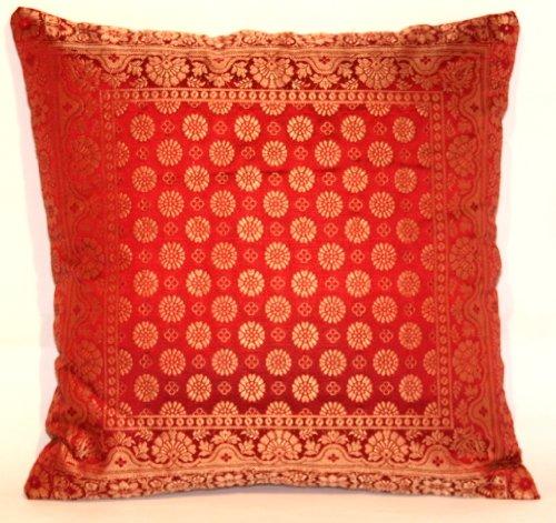 Indische Dekorativ Banarasi Seide Kissenbezüge 40 cm x 40 cm (Rötlich braun-Dunkel), Extravaganten Design für Sofa & Bett Dekokissen, Kissenhülle aus Indien (Sofa Braun Bett Dunkel)