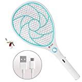 Zomake Electric Mosquito Fly Racket, Bee Killer-3000 Volt USB Rechargeable Double Layer Mesh Protection, Blue