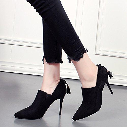 A Bottes Daim Nouvelles Bottes Nu Match Et Tout En Aiguilles Chaussures black KHSKX Talons Coréenne De Façon Blanchâtre De fwpqc01WE1