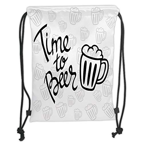 WTZYXS Drawstring Sack Backpacks Bags,Man Cave Decor,Time to Beer Quote Cartoon Style Hand Drawn Mugs Foamy Lager Ale,Silver White Black Soft SatinT,5 Liter Capacity,Adjustable. Ale Mug