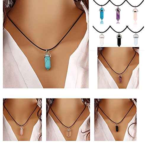 ilovediy-healing-amethyst-crystal-point-pendant-sp-chain-reiki-charged-blue-turquoise