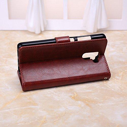 Wkae Case Cover Huawei Honor 7 casi, in pelle modello di colore caso di stile del raccoglitore solido disegno magnetico Flip Folio copertura dellunità di elaborazione della copertura della cassa stan Brown