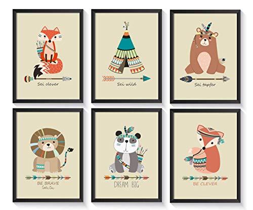 6 Kunstdrucke für das Kinderzimmer | ohne Bilderrahmen | verschiedene Motive | A4 Kinderbilder | hochwertiger Druck | 300g schweres Papier | matte Oberfläche -