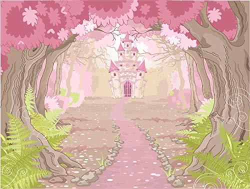 azutura Princesa Rosa Castillo Fotomurales Cuento de Hadas Papel Pintado Dormitorio de Las niñas Decoración Disponible en 8 Tamaños Extra pequeño Digital