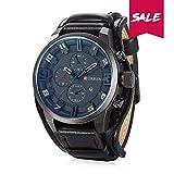Curren Reloj de pulsera de cuero , cuarzo analógico, diseño clásico de lujo Classic Business Classic, diseño de puntero brillante, con 3 decorati de color negro Dial (Black-Black)