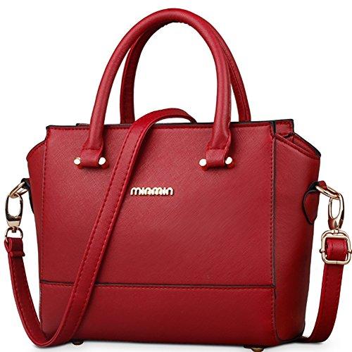 fanhappygo Fashion Retro Leder Damen Freizeit Aktentasche Schulterbeutel Umhängetaschen Abendtaschen Rot