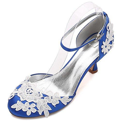 Elegant high shoes Donna Scarpe da Sposa D17061-7 Damigella D Onore Tacco  Basso Fiore Corpetto Fibbia di Raso Chiusura delle Dita dei Piedi ee58cd2403f