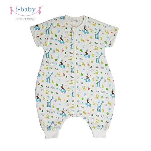 I-baby sacco nanna con piedini estivo primaverile 0.5 tog sacco a pelo letto leggero per neonato bimba bambino 2 3 4 anni cotone
